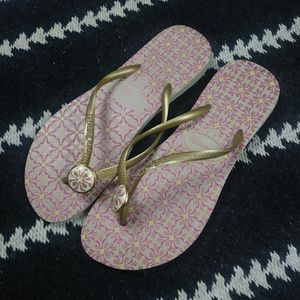 Havaianas Gold and Purple  Floral Flip Flops. 9